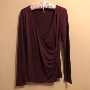 Loft Size Small Faux Wrap Long Sleeve Top